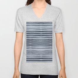 Simply Shibori Stripes Indigo Blue on Sky Blue Unisex V-Neck