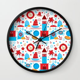 pattern with sea icons on white background. Seamless pattern. Red and blue Wall Clock