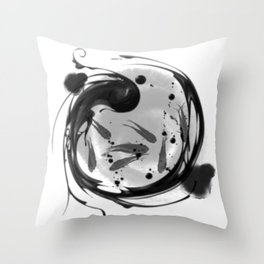 chinese feng shui white fish Throw Pillow