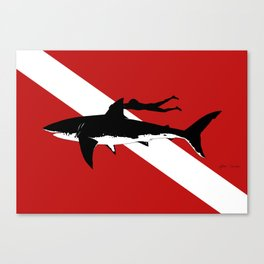 great white shark dive Canvas Print