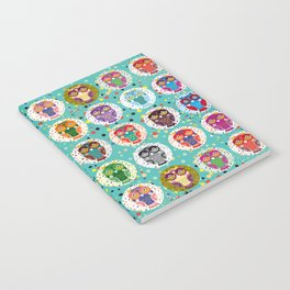 funny colored owls on a turquoise background Notebook