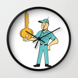 Locksmith Balancing Key Palm Cartoon Wall Clock