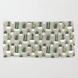 Watercolour cacti & succulents - Beige Beach Towel