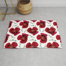 Seasons K Designs Red Poppy Print on white Rug