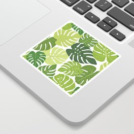 Monstera Leaves Pattern (white background) Sticker