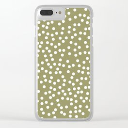 Khaki / Olive Green and White Polka Dot Pattern Clear iPhone Case