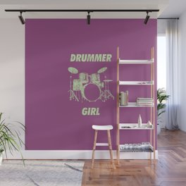Drummer Girl Funny Drums Vintage Drumming Distressed Wall Mural