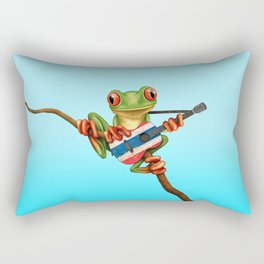 Tree Frog Playing Acoustic Guitar with Flag of Thailand Rectangular Pillow