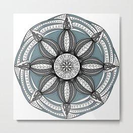 Mandala Black and Gray Metal Print
