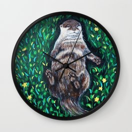 Relaxed River Otter Painting Wall Clock