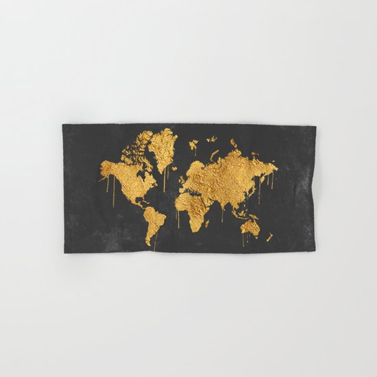 Gold World Map Hand & Bath Towel