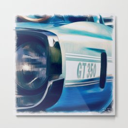 American Pony Car in Light Blue Metal Print
