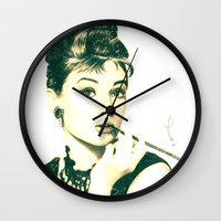 hepburn Wall Clocks featuring My Hepburn by Thubakabra