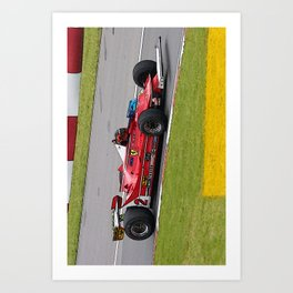Sketch of F1 Champion Gilles Villeneuve - year 1980 car 312 T5 - Vertical Art Print