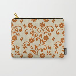 """""""Orange Flowers & Natural Texture"""" Carry-All Pouch"""