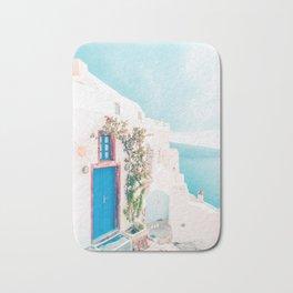 Santorini Greece Cozy blush travel photography in hd. Bath Mat