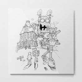 Mysterious machines lineart Metal Print