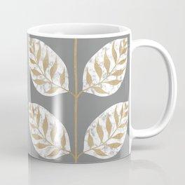 Gilded Leaf Inlay Marble and Gold on Grey Coffee Mug