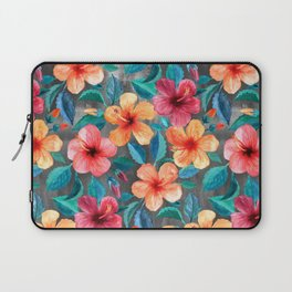 Colorful Watercolor Hibiscus on Dark Charcoal Laptop Sleeve
