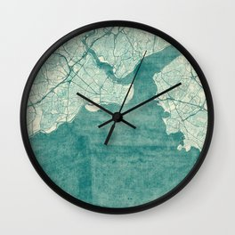 Istanbul Map Blue Vintage Wall Clock
