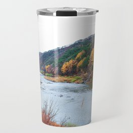 Scenic Fall Nature Lanscape with Stream and Hills Travel Mug