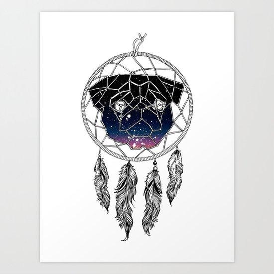 Dreamcather Pug Art Print