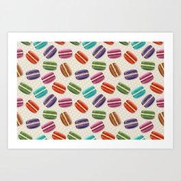 Macaron Cookies, Polka Dots - Blue Green Red Pink Art Print