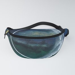 Crescent Moon Mixed Media Painting Fanny Pack