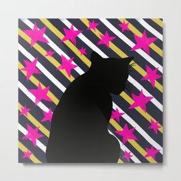 Black Cat on Gold Stripes n Pink Stars Metal Print