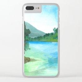 Blue landscape Clear iPhone Case