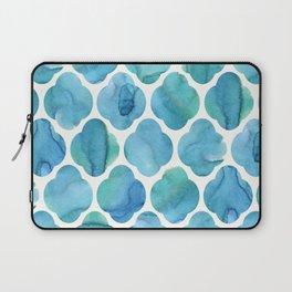 Watercolour Blue Moroccan Tile Print Laptop Sleeve