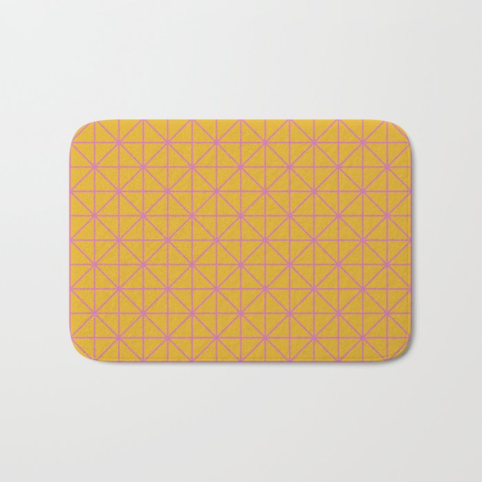 Line Work Geometric Triangle Pattern in Pink and Yellow Bath Mat