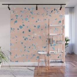 Turquoise Shimmery Terrazzo on Pink Wall Mural