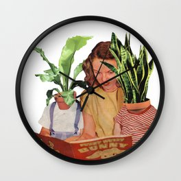 Retro Plant Collage / being a plant mom is a full time job Wall Clock