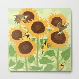 Sunbathing Meadowlarks Metal Print