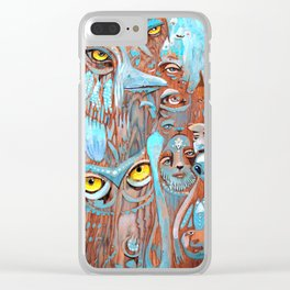 Turquoise Feathers Clear iPhone Case