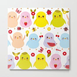 Kawaii colorful blue green orange pink yellow chick Metal Print