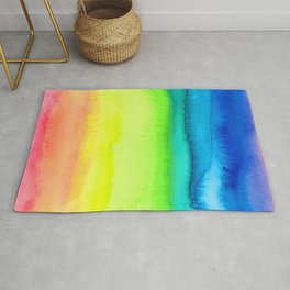 Rainbow Gradient Madness Watercolor by Imaginarium Creative Studios Rug