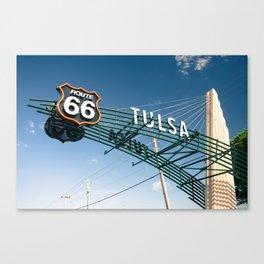 Tulsa Oklahoma Vintage Route 66 Sign - Color Canvas Print