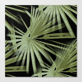 Green On Black Tropical Vibes Beach Palmtree Vector Canvas Print