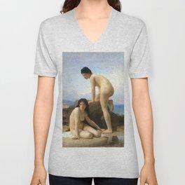 """William-Adolphe Bouguereau """"The Bathers"""" Unisex V-Neck"""