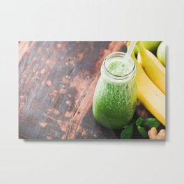 Close-up of green fresh smoothie with fruits, berries, oats and seeds, selective focus. Metal Print