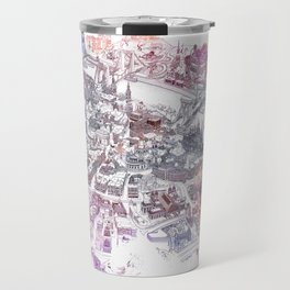 Colorful Budapest - Bird's Eye View Map Travel Mug