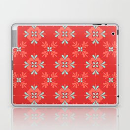 Red Background with Coral and Aqua Flower Pattern Laptop & iPad Skin