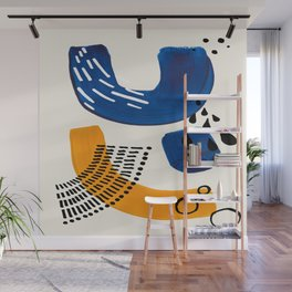Fun Colorful Abstract Mid Century Minimalist Navy Blue Yellow Organic Shapes Water Drops Patterns Wall Mural