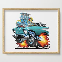 Classic Fifties Hot Rod Muscle Car Cartoon Serving Tray