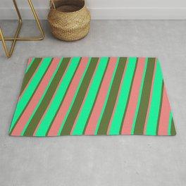 Green, Dark Olive Green & Light Coral Colored Lines/Stripes Pattern Rug