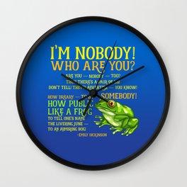 Emily Dickinson I'm Nobody Poem Wall Clock