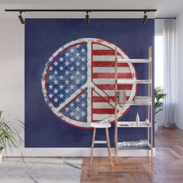 Watercolor Patriot Peace Symbol Stars and Stripes USA Flag Wall Mural