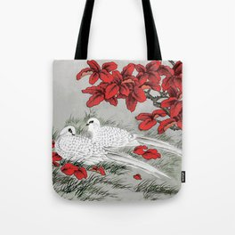 Vintage White Doves and Red Leaves on Gray / Grey Tote Bag